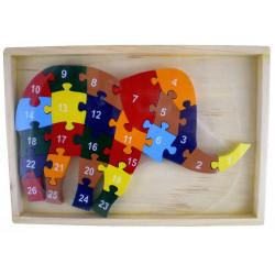 PUZZLE ALPHABET / CHIFFRES ELEPHANT EN BOIS