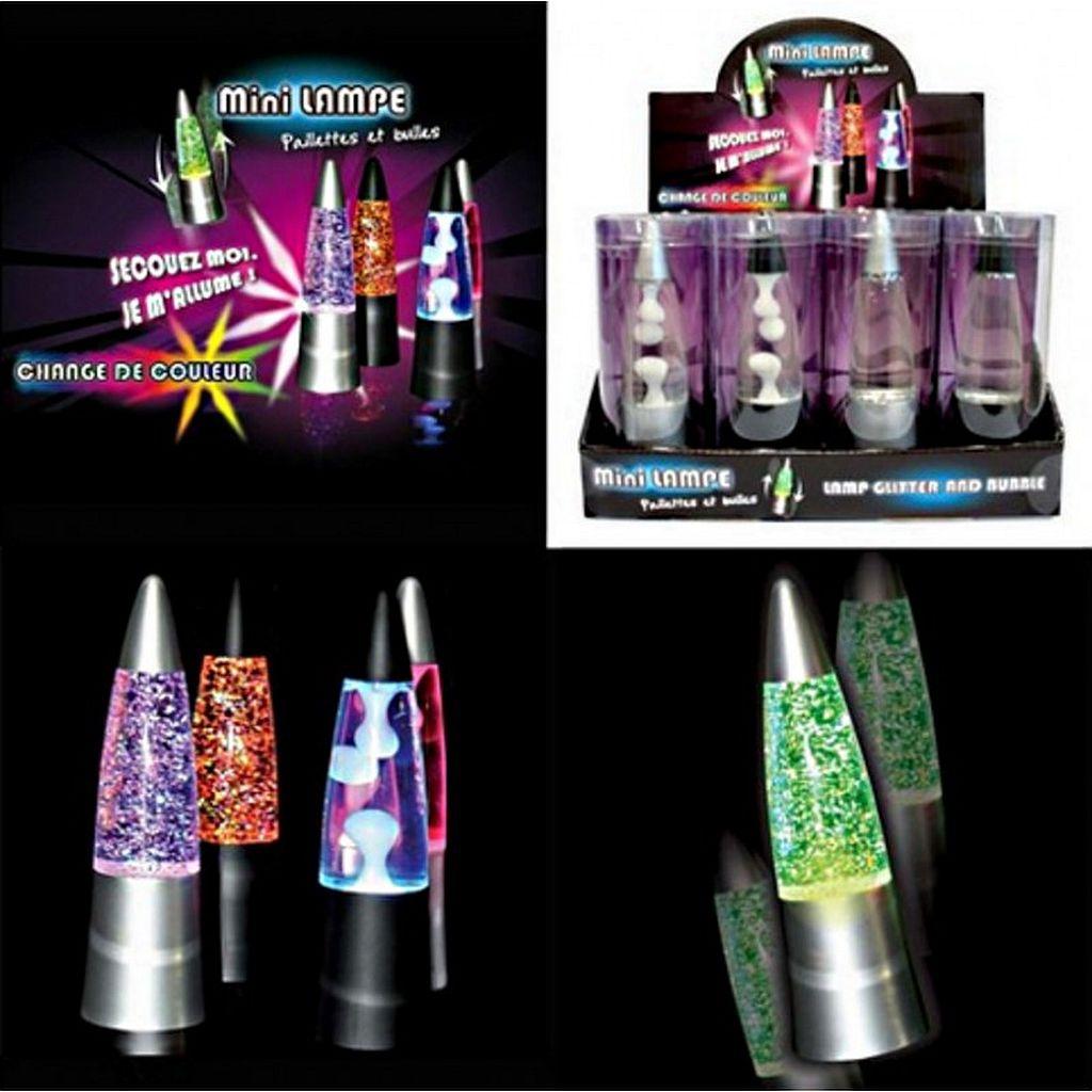 Mini Lampe Lave Et Paillettes Lumineuses 15 X 4 5 Cm Vente De Lots