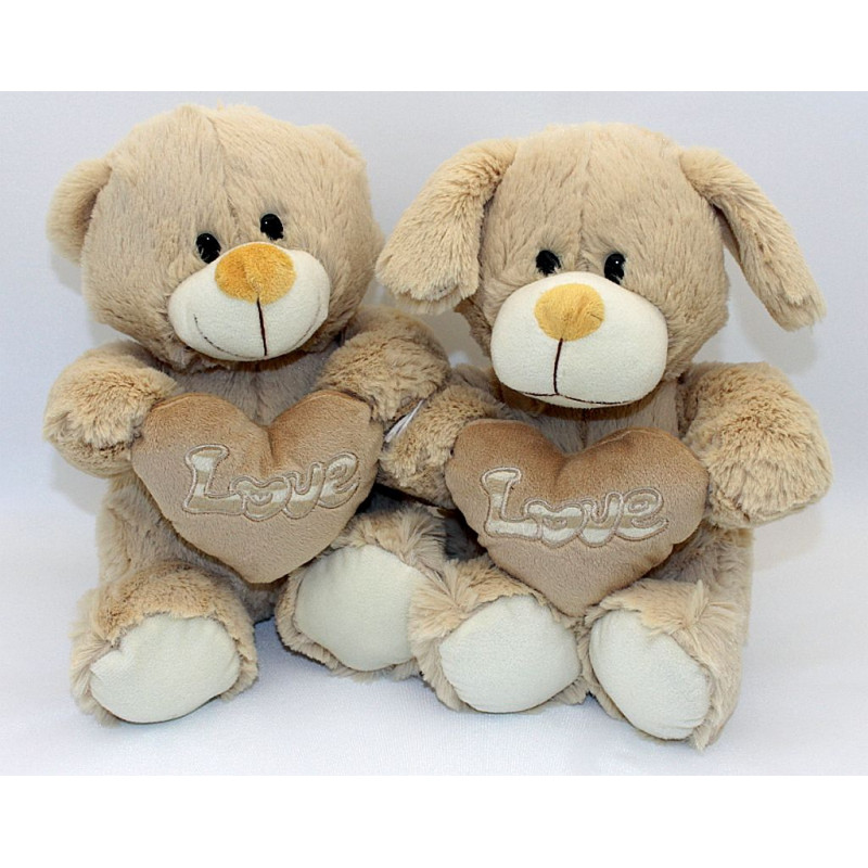 peluche ours et chien avec coeur 23 5 cm vente de lots peluches pour vos kermesses f tes. Black Bedroom Furniture Sets. Home Design Ideas