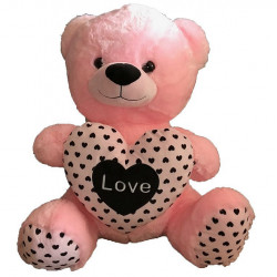 PELUCHE OURS ROSE COEUR 60 CM